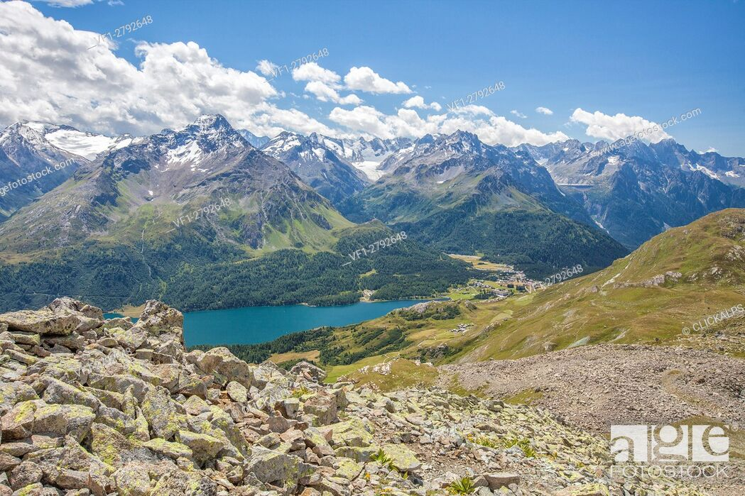 Imagen: Top view of Lake Sils with snowy peaks in background Engadine Canton of Grisons Switzerland Europe.