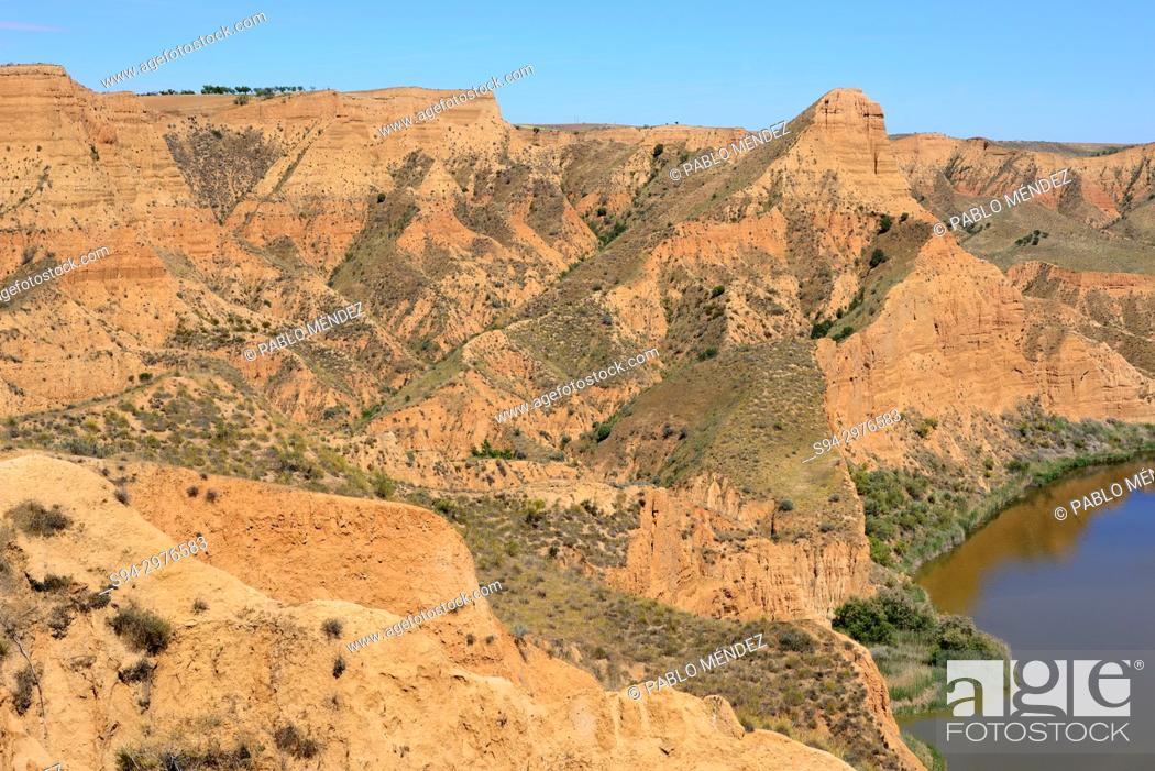 Stock Photo: Natural monument of Barrancas del Burujon, Toledo province, Spain.
