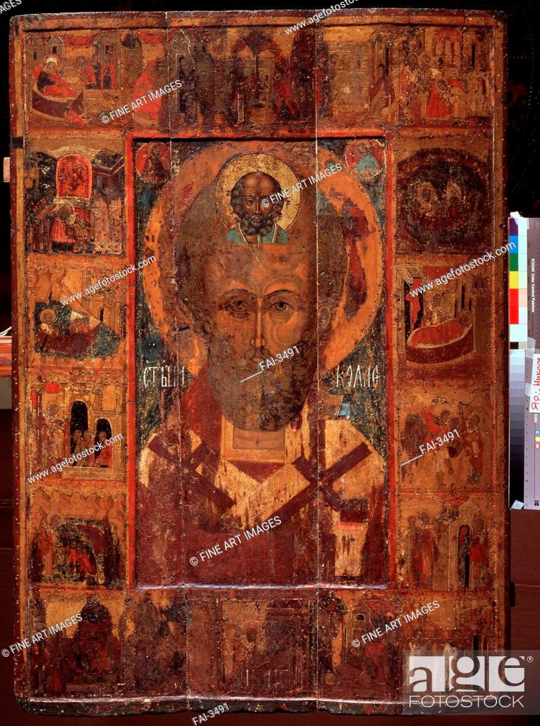 Saint Nicholas With Scenes From His Life Russian Icon Tempera On