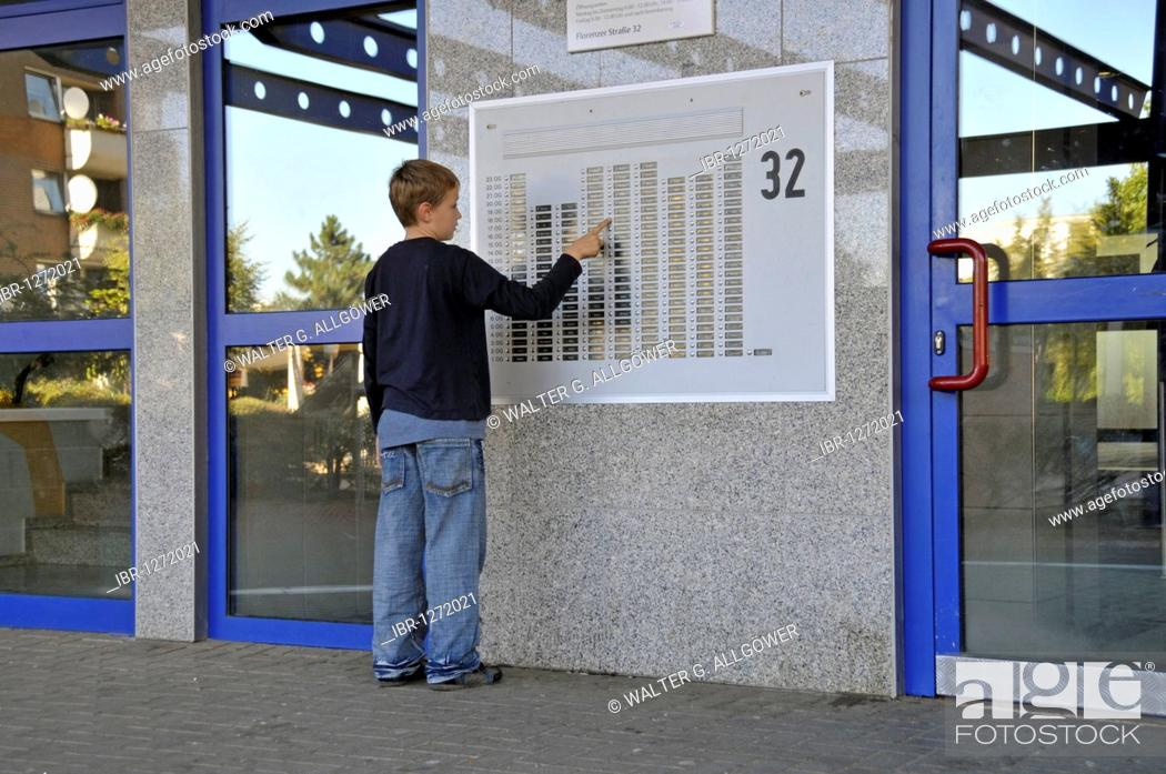 Stock Photo Boy 9 Standing In Front Of The Doorbell Panel A High Rise Apartment Building Satellite Town Chorweiler Cologne