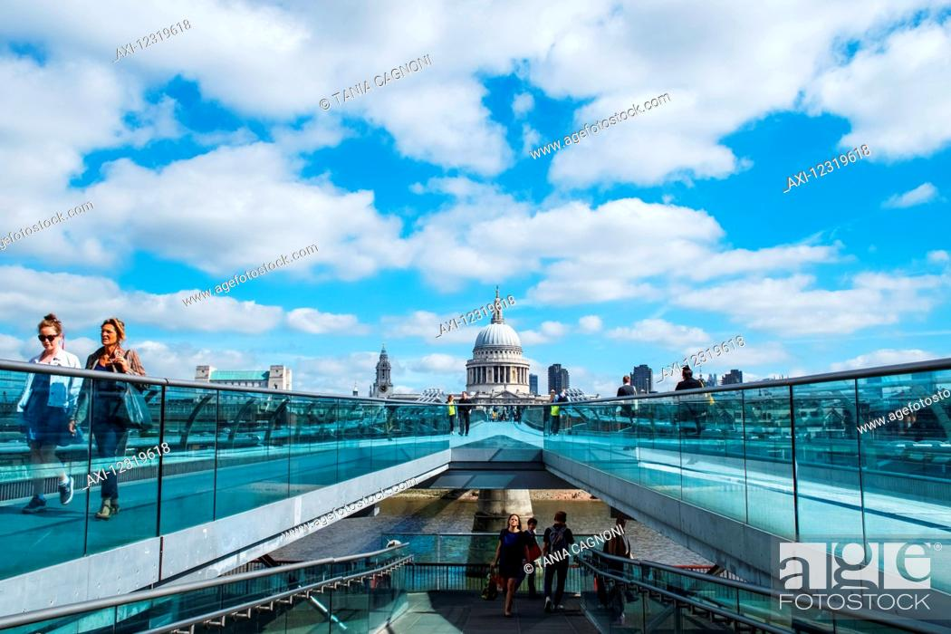 Stock Photo: Crossing Millennium Bridge to St Paul's Cathedral; London, England.