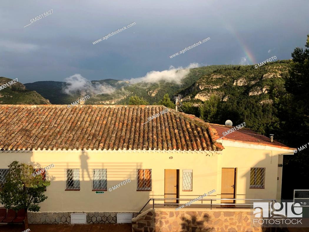 Stock Photo: Benageber dam, Utiel, Spain, Europe.
