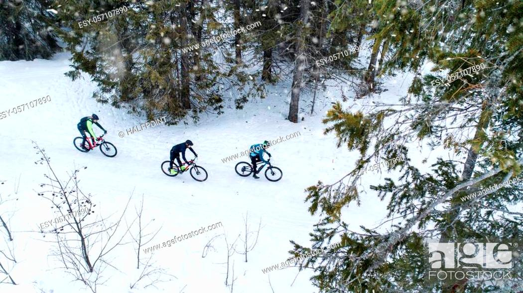 Stock Photo: Aerial view of mountain bikers riding on road covered by snow in forest outdoors in winter.