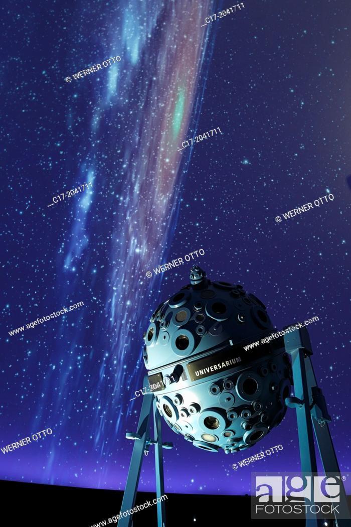 Stock Photo: Germany, Bochum, Ruhr area, Westphalia, North Rhine-Westphalia, NRW, Zeiss Planetarium, interior view, auditorium, astronomy, spangled sky, starry conopy, dome.