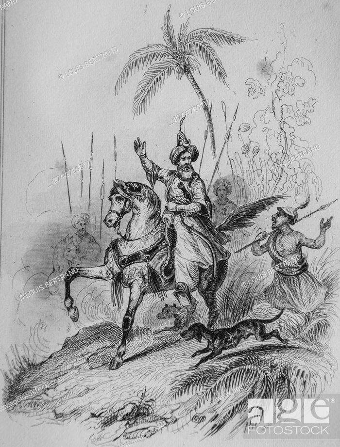 Stock Photo: the king of persia, florian fables illustrated by victor adam, publisher delloye, desme 1838.