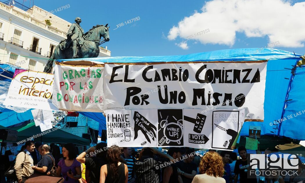 Stock Photo: Movement 15M camp at Puerta del Sol, Madrid.