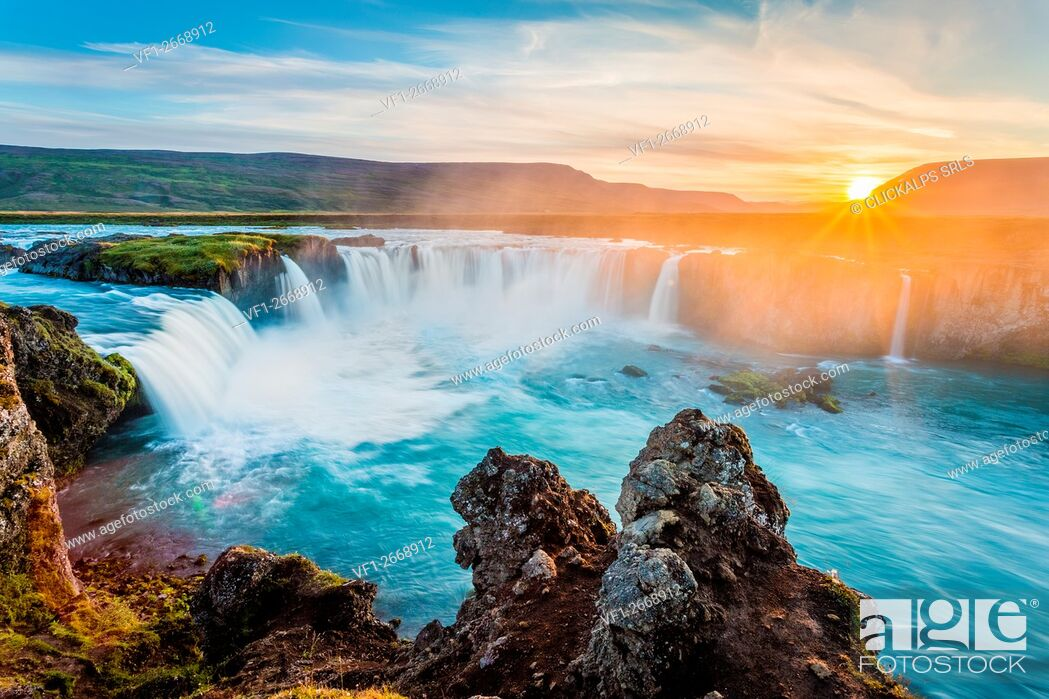Stock Photo: Godafoss, Myvatn, Iceland. the waterfall of the Gods at sunset.
