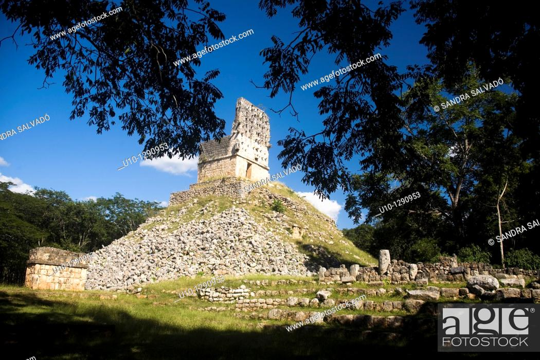Stock Photo: Archaeological site Labná, Puuc Route, Yucatan, Mexico.