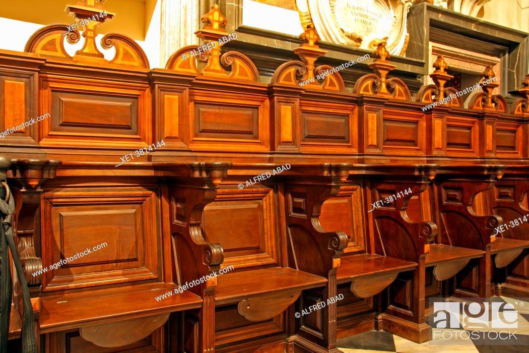 Stock Photo: Baroque stalls in the Chapel of San Pedro, Catedral de Santa Maria, La Seu, Valencia, Spain.