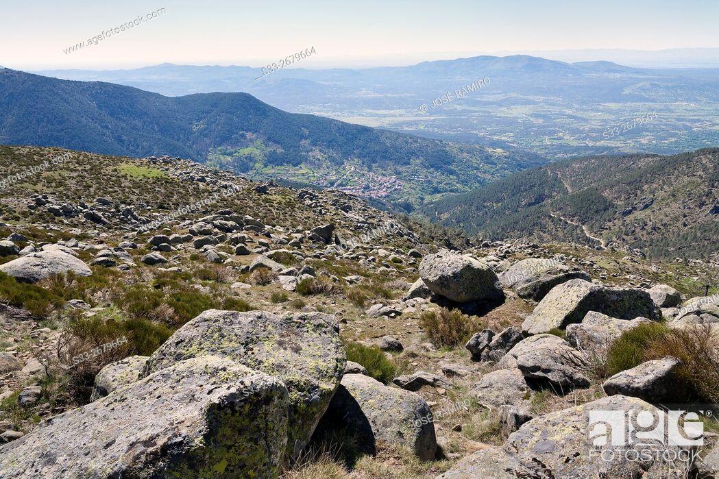 Stock Photo: Tietar Valley from Centenera Meadows in the Sierra de Gredos. Avila. Castilla Leon. Spain. Europe.