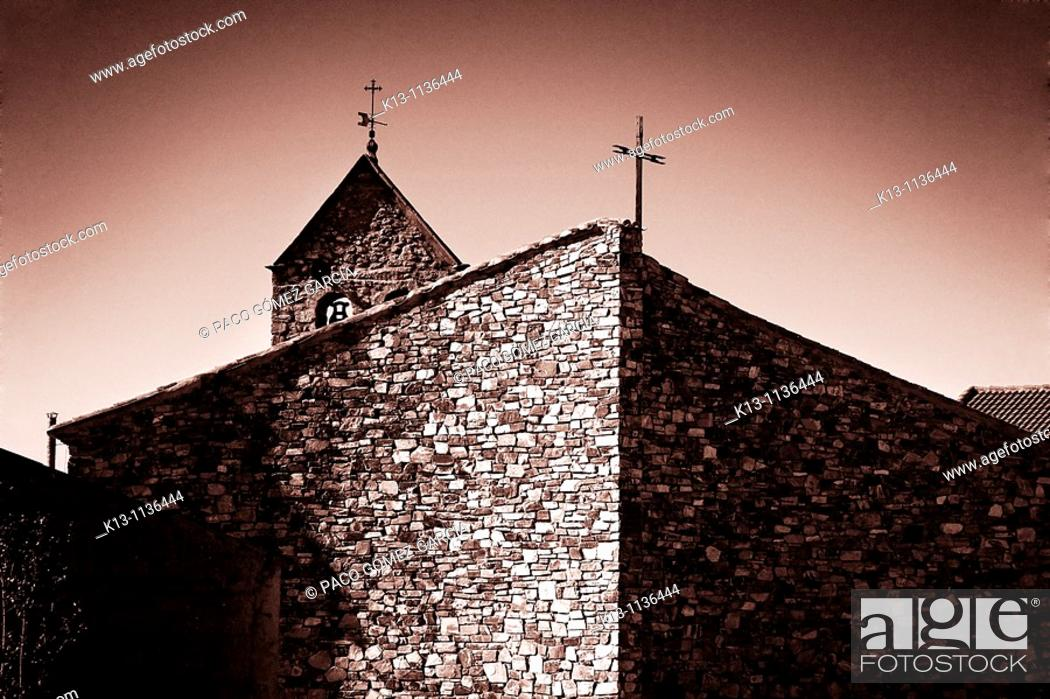 Stock Photo: Miguel Fisac church in Pumarejo Tera  Zamora  Castilla-Leon  Spain.