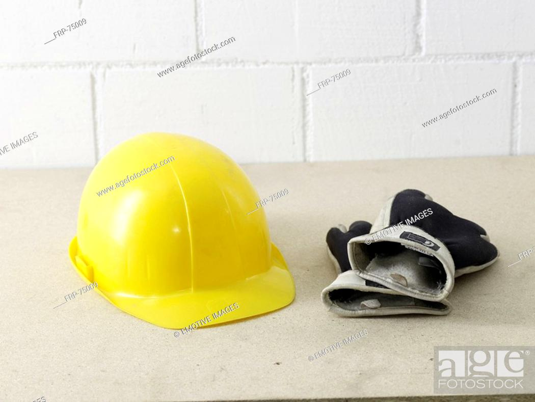Stock Photo: Helmet and working gloves.