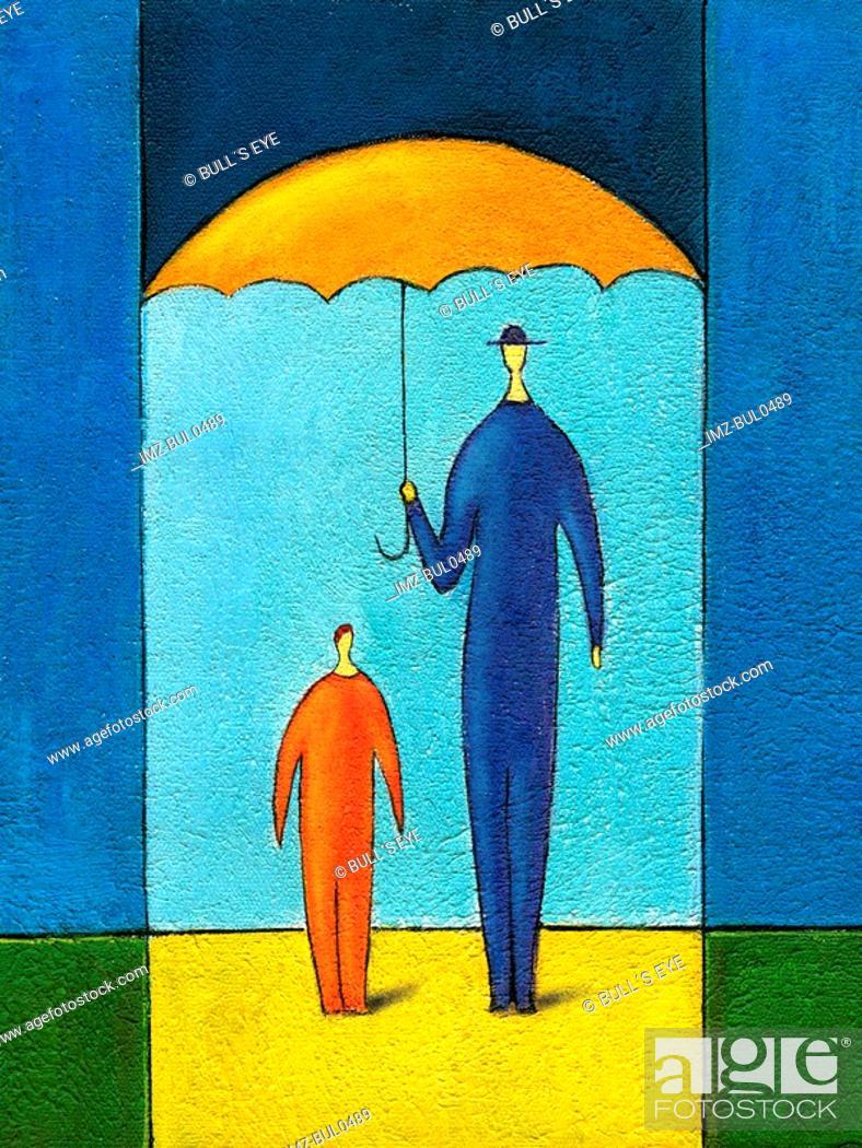Stock Photo: Painting man holding umbrella over him child.