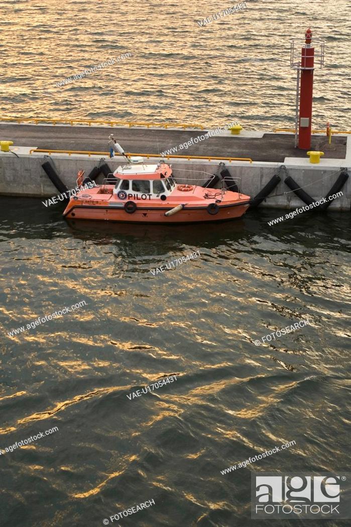 Stock Photo: Boat, Docked, Dock, Anchored.
