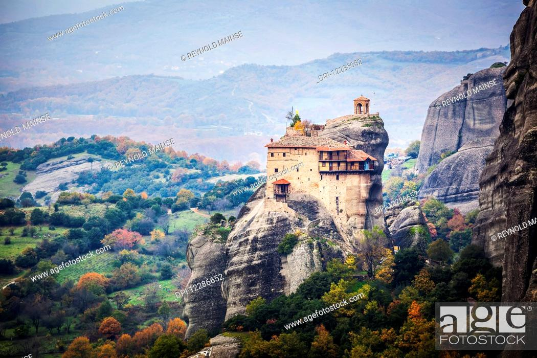 Stock Photo: Monastery perched on a cliff; Meteora, Greece.