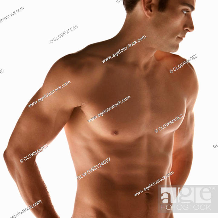 Stock Photo: Close-up of a bare chested young man.