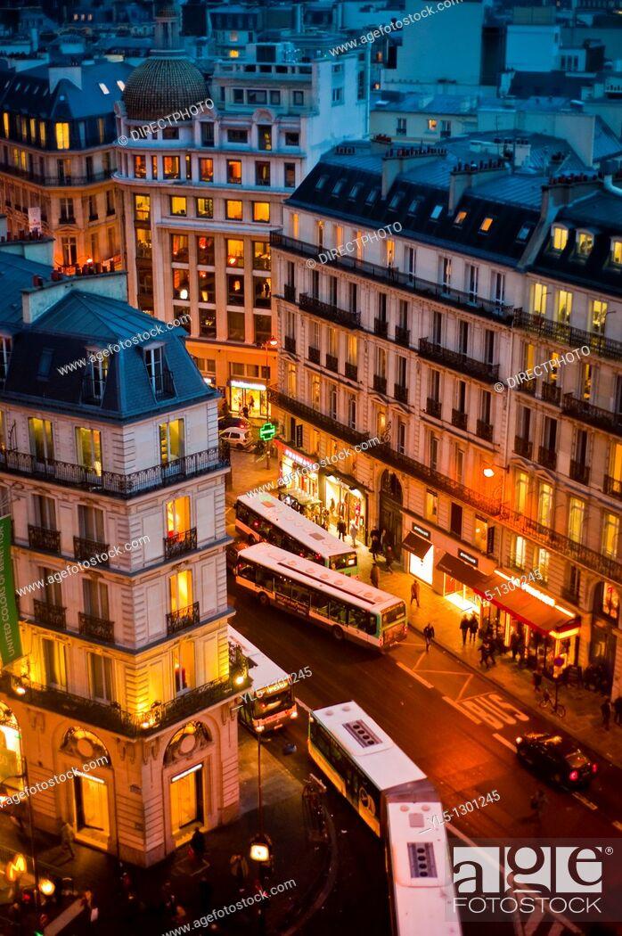 Stock Photo: Paris, France, Office Buildings, Outside, Dusk.