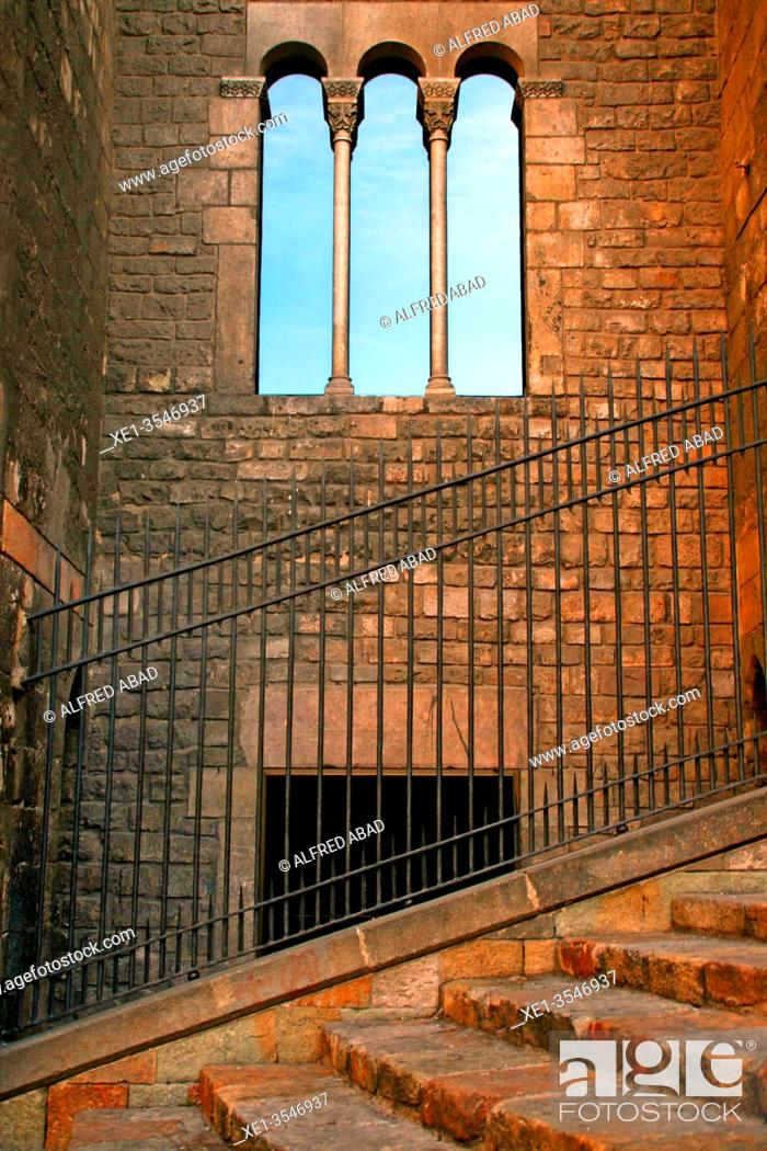 Stock Photo: fence, stairs and windows of the Palau Reial Major, Gotic district, Plaça del Rei, Barcelona, ??Catalonia, Spain.