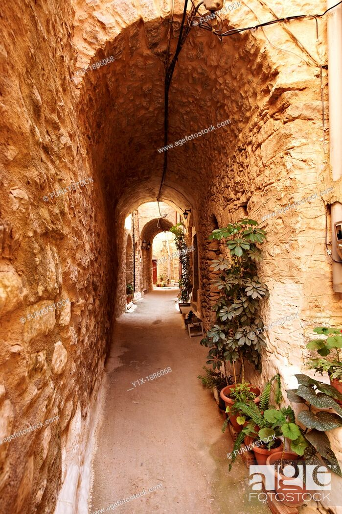 Stock Photo: Medieavl streets of the Genoese mastic fort village of Mesta, Mastichochoria area of Chios Island, Greece.