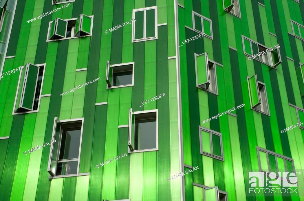 Stock Photo: Facade of Vallecas 51 building, Ensanche de Vallecas. Madrid, Spain.