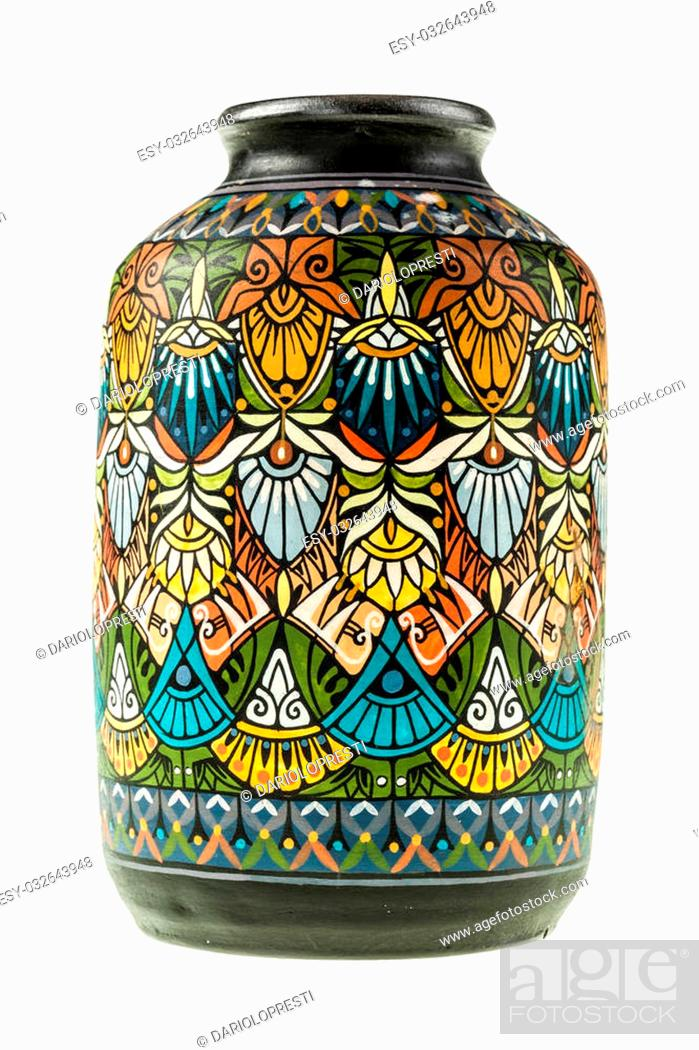 Photo de stock: a colorful philippine vase isolated over a white background.
