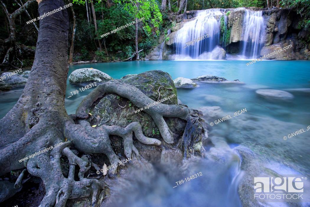 Stock Photo: Erawan falls in the Erawan National Park.