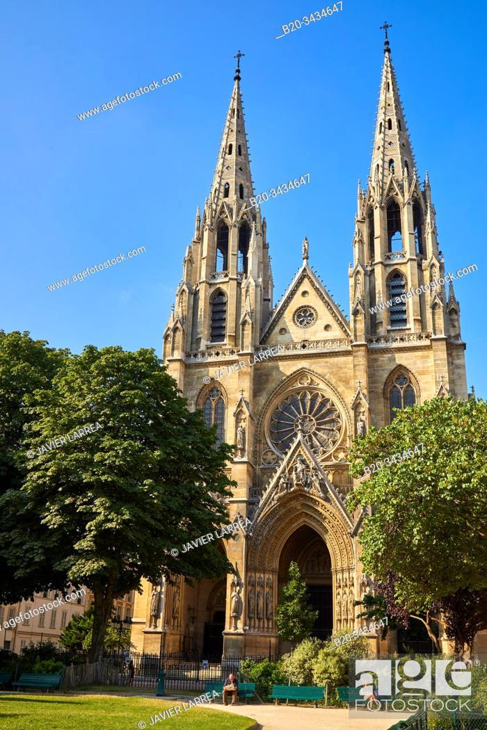 Stock Photo: Basilique Sainte-Clotilde, Square Samuel Rousseau, Paris, France.