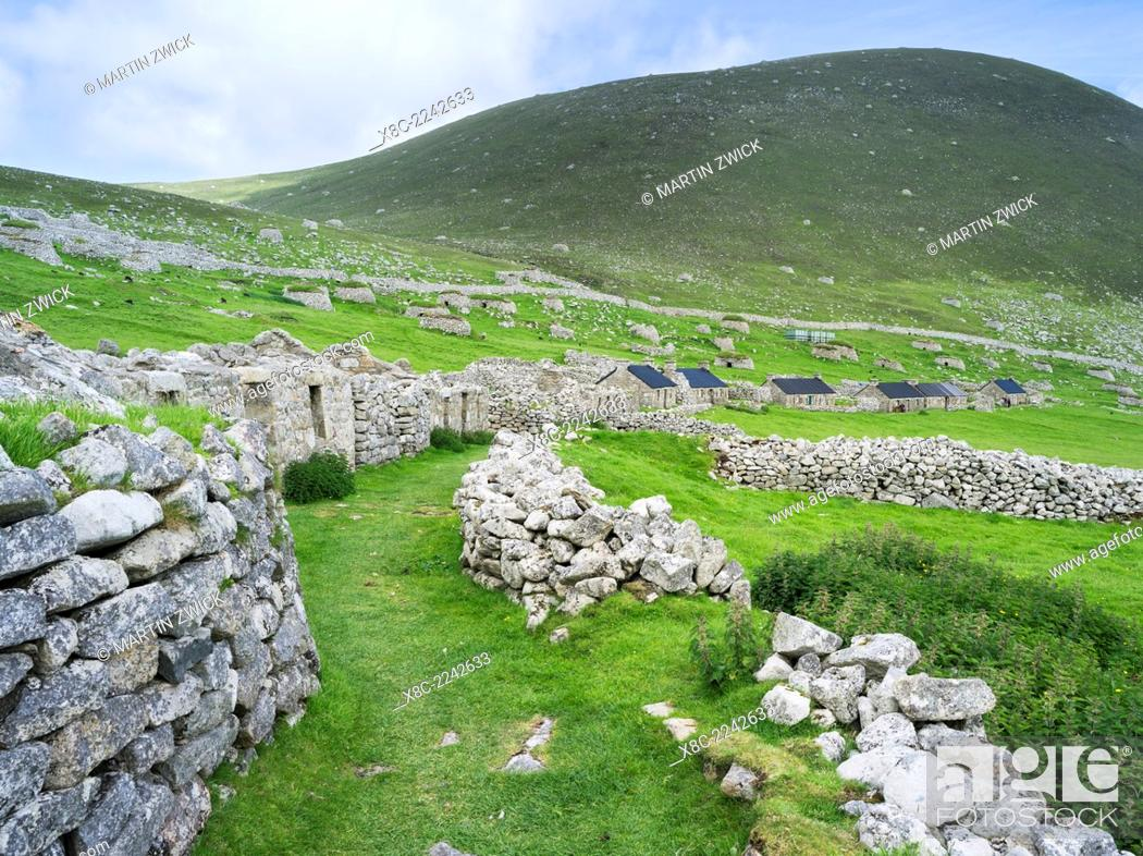 Stock Photo: The islands of St Kilda archipelago in Scotland. Island of Hirta with village bay and the settelment abondoned 1930. It is one of the few places worldwide to.