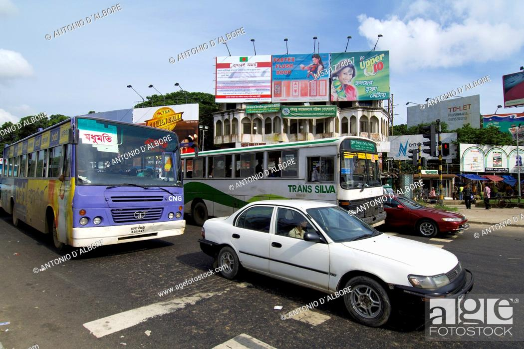 Stock Photo: cars and bus in downtown dhaka  dhaka  bangladesh.