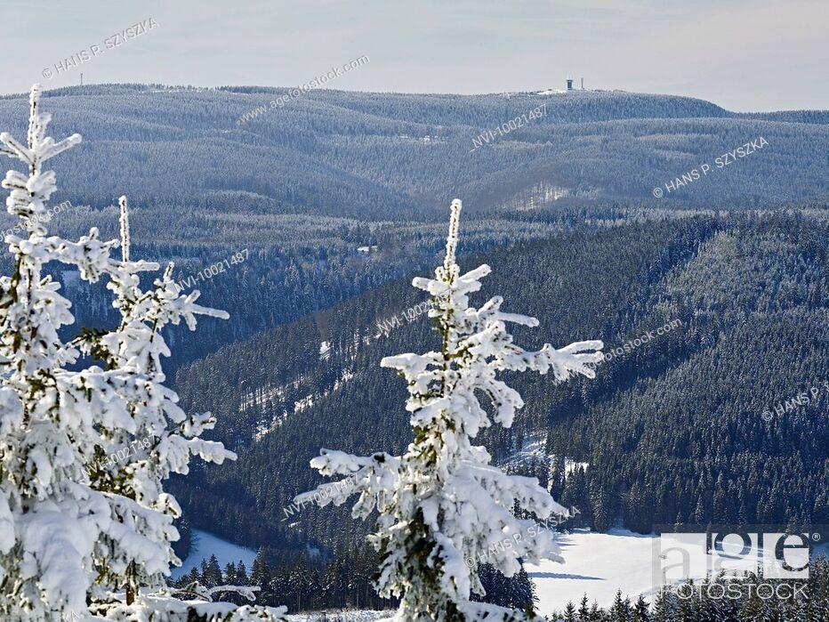 Stock Photo: View from Kickelhahn at Ilmenau to Thuringian forest with Schneekopf , Thuringia, Germany.