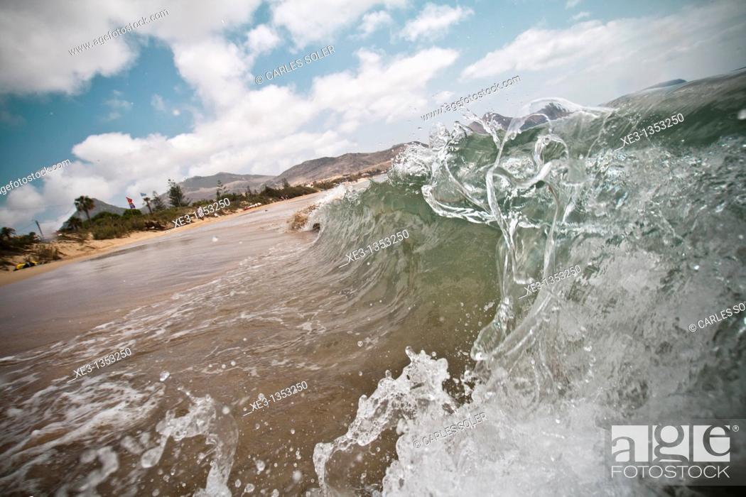 Stock Photo: Frozen wave at Porto Santo Beach, Madeira.