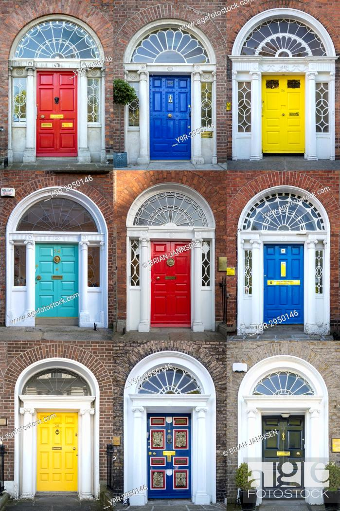 Stock Photo: Colorful front doors to homes in Merrion Square, Dublin, Eire, Ireland.