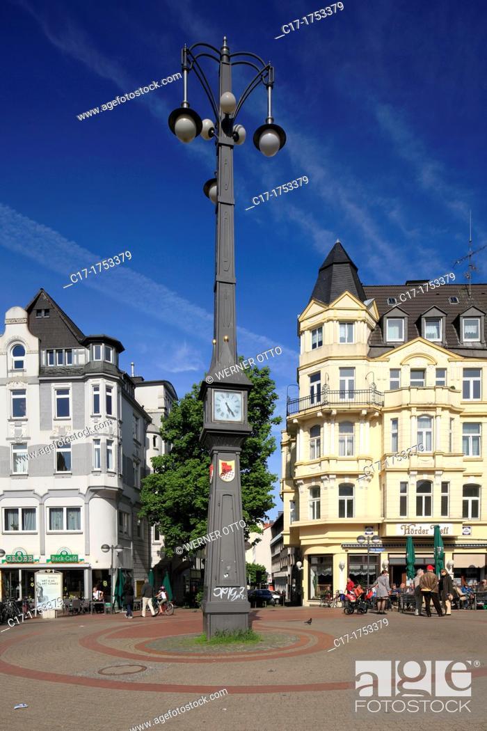 Stock Photo: Germany, Dortmund, Ruhr area, Westphalia, North Rhine-Westphalia, NRW, Dortmund-Hoerde, market place, clock tower 'Schlanke Mathilde', slim Mathilde.