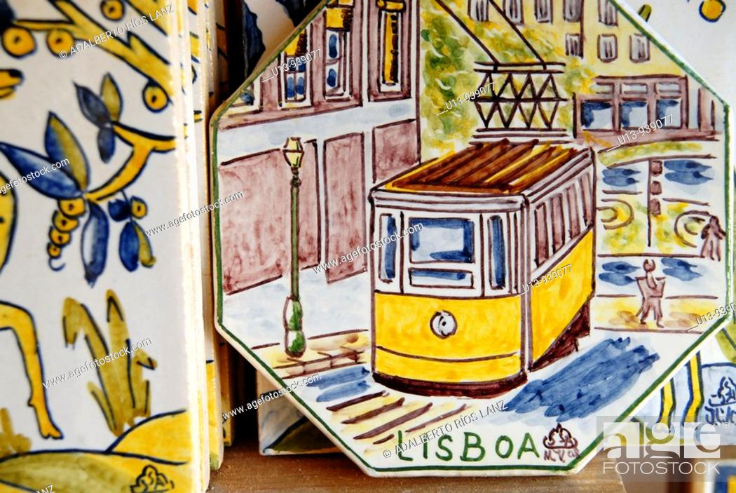 Stock Photo: Painted tile depicting a tram, Lisbon, Portugal.