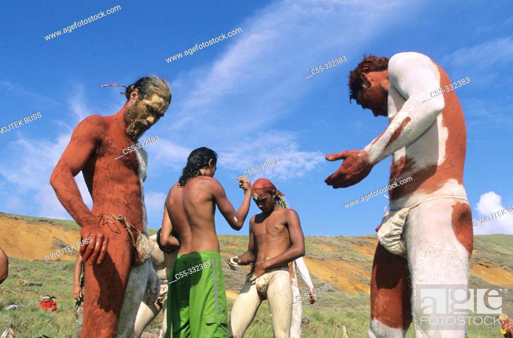 Stock Photo: Tau'a Rapa Nui triathlon, body painting. Tapati Rapa Nui festival. Islander. Easter Island. Chile.