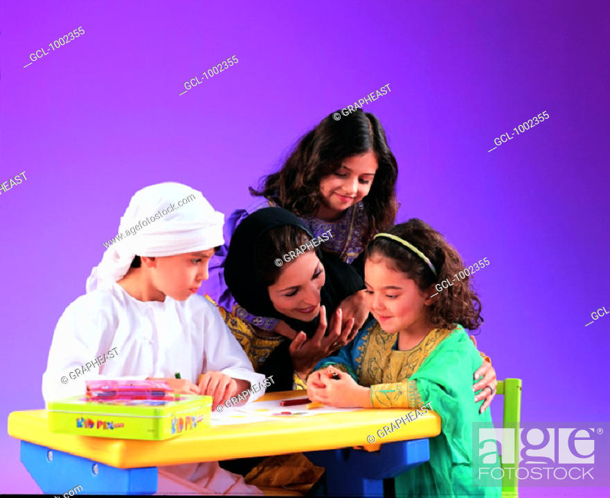 Stock Photo: Mother playing with children.