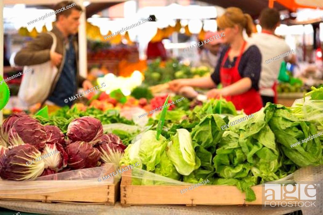 Stock Photo: Vegetable market stall.