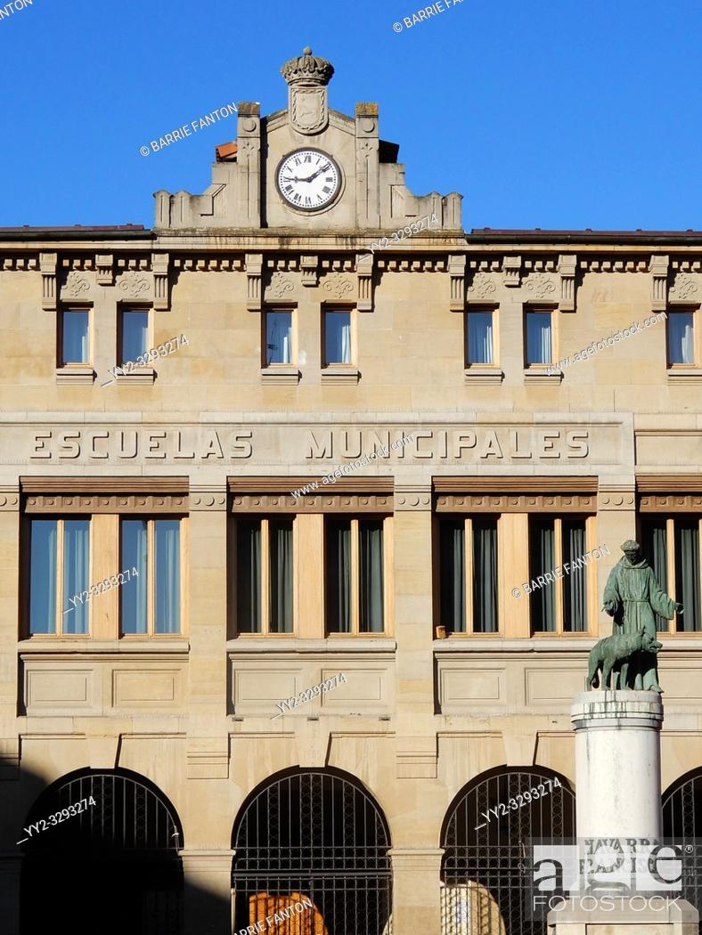 Stock Photo: Escuelas Municipales and San Francisco, Pamplona, Spain.