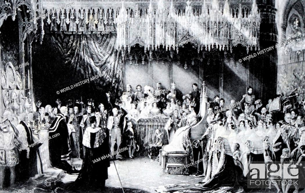 Stock Photo: Painting depicting the coronation of Queen Victoria (1819-1901) Queen of the United Kingdom of Great Britain and Ireland. Dated 19th Century.