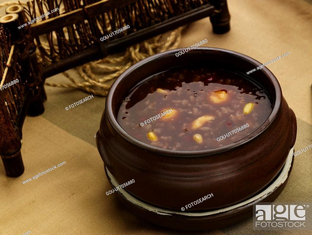 Stock Photo: cuisine, vassel, food, rice cake, spoon, korean food, red bean gruel.