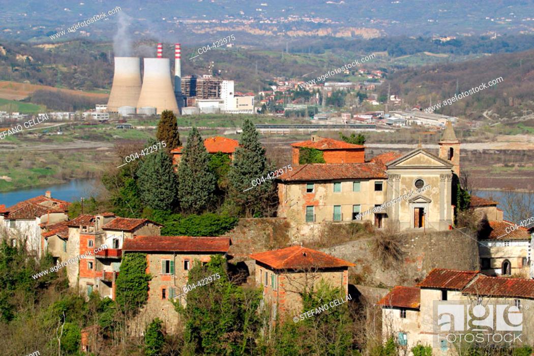 Stock Photo: Old city and power station, Castelnuovo dei Sabbioni. Arezzo, Tuscany. Italy.