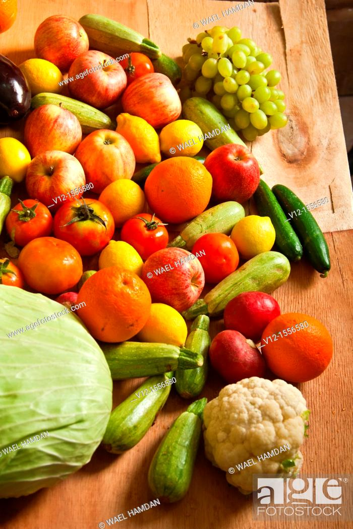 Stock Photo: Bunch of Fruits and Vegetables.