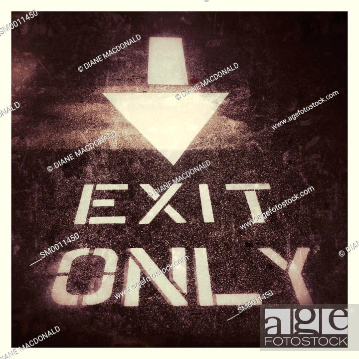 Stock Photo: Exit Only sign at the exit of a car park.
