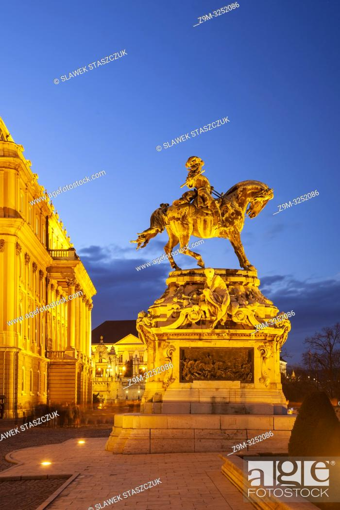 Stock Photo: Evening at prince Eugene de Savoy statue at Buda Castle in Budapest, Hungary.