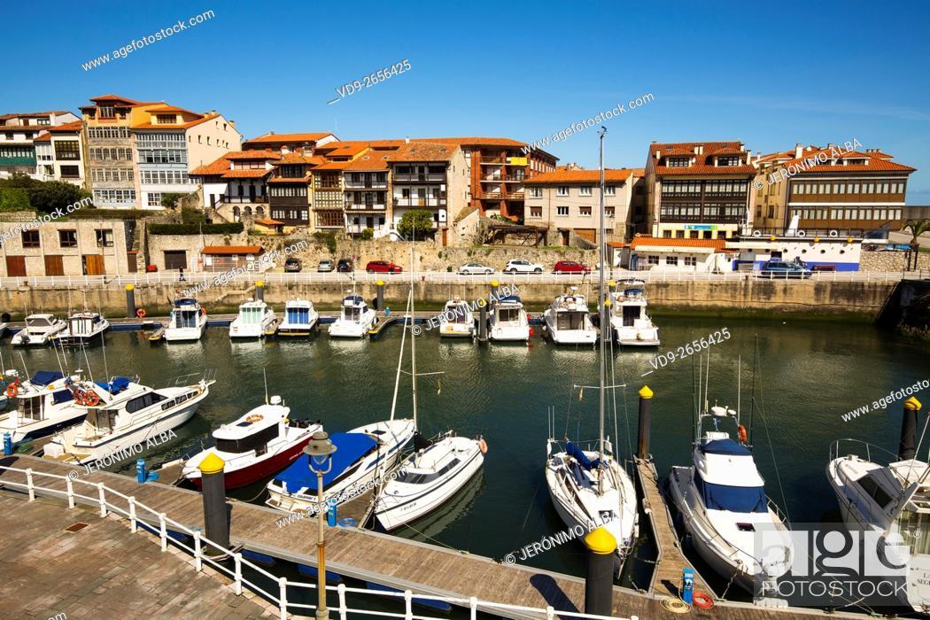Stock Photo: Fishing port Marina. Fishing village of Llanes, Cantabrian Sea, Asturias, Spain Europe.