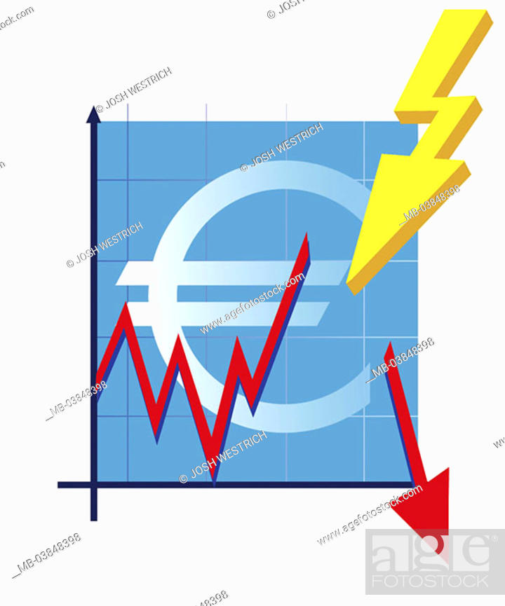 Stock Photo Ilration Euro Signs Balance Curve Red Arrow Symbol Börsencrash Series Shares Share Prices Course Development Chart