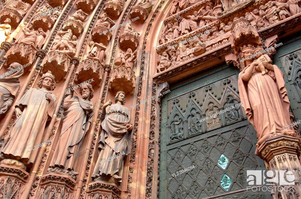 Stock Photo: Strasburg - France - Cathederal front and sculptures.