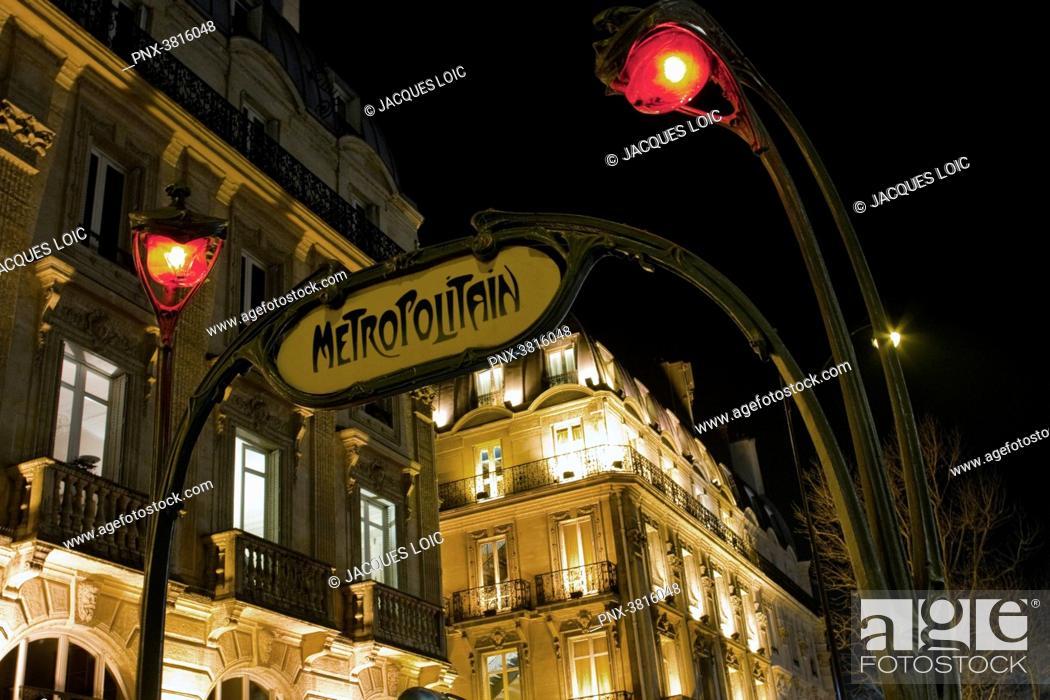 Stock Photo: France, Paris, Saint-Michel subway station, at night.