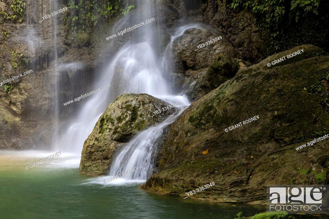 Stock Photo: The Pahangog Twin Falls, (Waterfalls) Dimiao, Bohol, The Philippines.