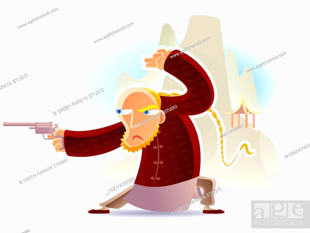 Stock Photo: A man in chinese costume firing a pistol.